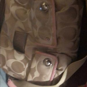 Coach Poppy satchel Pink and tan